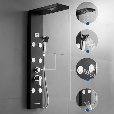 Panneau de Douche hydromassante Noir 4 modes de douche Colonne de douche en Acier Inoxydable Kit Ensemble de Douche cascade avec écran Affichage LCD pour Salle de Bain
