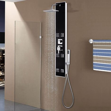 Panneau de douche Verre 18 x 42,1 x 120 cm Noir