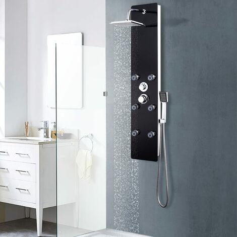 Panneau de douche Verre 25 x 44,6 x 130 cm Noir
