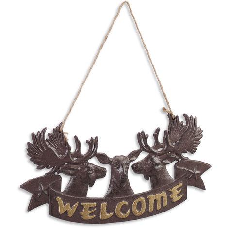 Panneau de porte Elan, Design antique, plaque de bienvenue, Signe décoratif à suspendre, fonte, marron/doré