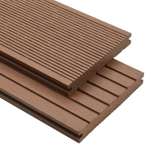 Panneau de terrasse et accessoires WPC 30 m² 2,2 m Marron clair
