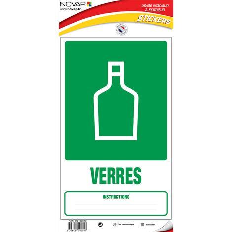 Panneau Dechets verre (tri sélectif) - Vinyle adhésif 330x200mm - 4000817