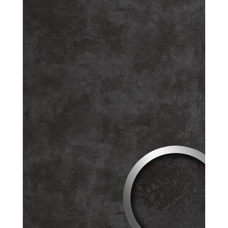 Panneau décoratif aspect pierre WallFace 19798 Antigrav CEMENT Dark Revêtement mural texturé d'aspect béton mate autoadhesivo anthracite 2,6 m2