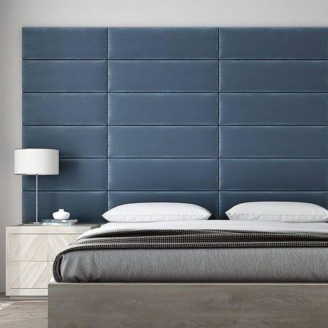 Panneau Décoratif Tête De Lit Capitonnée Mural 91cm Simili Cuir Bleu Paon