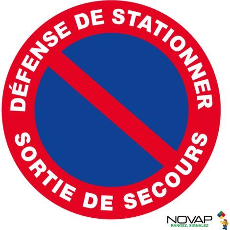 Panneau Défense de stationner - Sortie de secours - Rigide Ø 80mm - 4021621