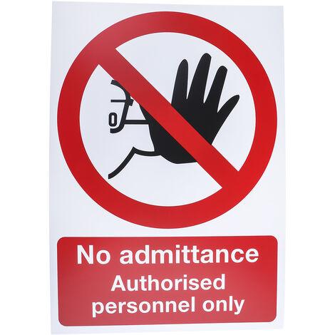"""Panneau d'interdiction, avec pictogramme : Pas d'accès / d'entrée """"No Admittance Authorised Personnel Only"""""""