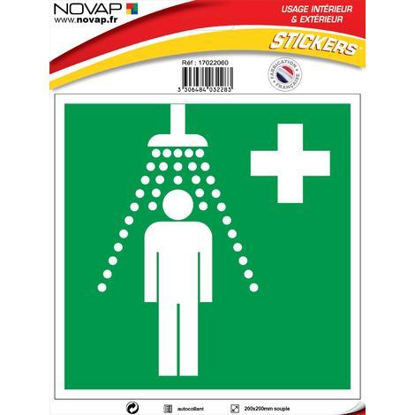 Panneau Douche de sécurité - Vinyle adhésif 200x200mm - 4032283
