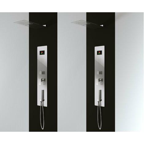 Panneau douche en acier inox avec 4 fonctions, inclu le flexible, la douche à main, les gets hydromassage, la cascade cervicale et le deviateur avec 4 fonctions