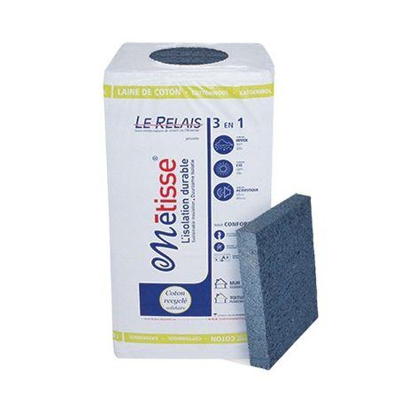 Panneau en laine de coton recyclé LE RELAIS METISSE - 50mm (R : 1,28) - 50mm (R : 1,28) | paquet(s) de 8.64 m² - 12 panneaux