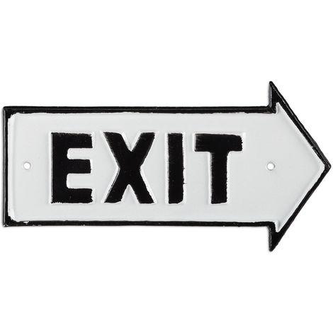 Panneau Exit, Décoration pour le mur & la porte, design antique, flèche vers la droite, fonte fer, blanc/noir