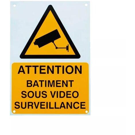 Panneau extérieur 'ATTENTION BÂTIMENT SOUS VIDÉOSURVEILLANCE' - plastique rigide (format A4)