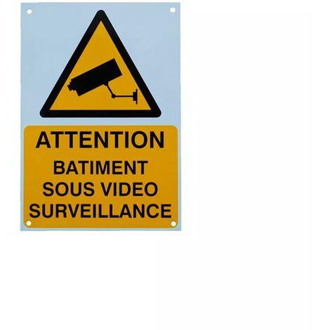 Panneau extérieur 'ATTENTION BÂTIMENT SOUS VIDÉOSURVEILLANCE' - plastique rigide (format A5)