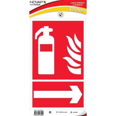 Panneau Extincteur flèche droite - Vinyle adhésif 330x200mm - 4036090