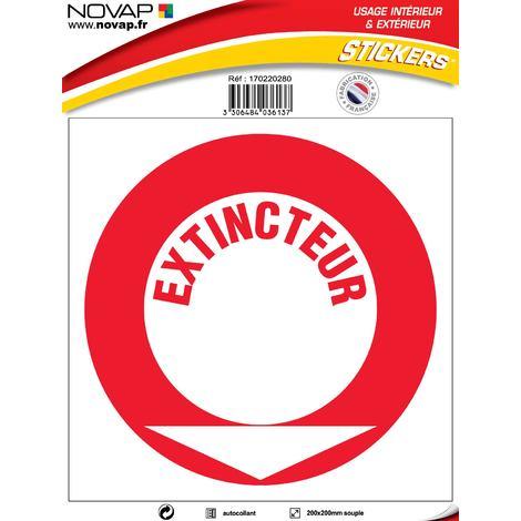 Panneau Extincteur texte - Vinyle adhésif 200x200mm - 4036137