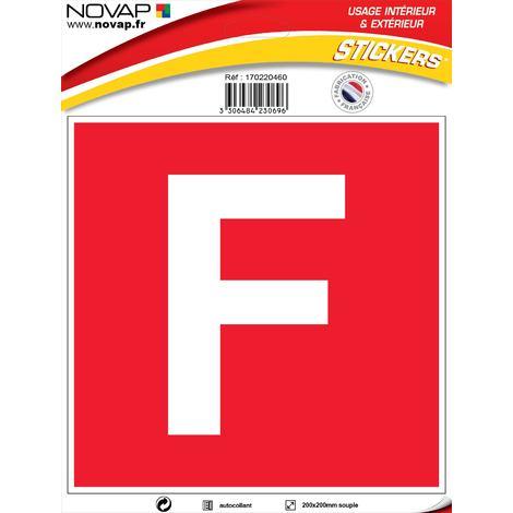Panneau F (fond rouge, lettre blanche) - Vinyle adhésif 200x200mm - 4230696