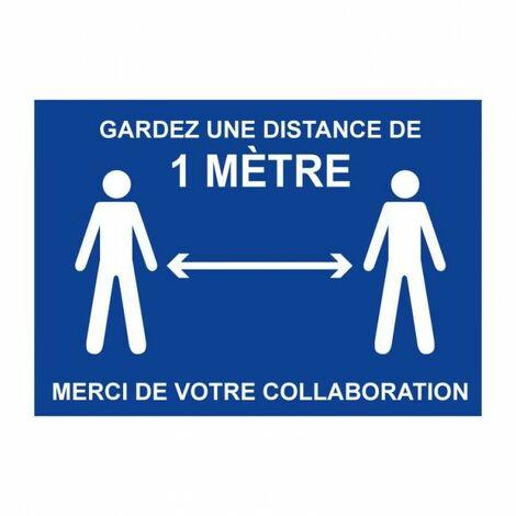 Panneau Garder une distance de 1 mètre - Rigide A4 - TOPCAR 4600147