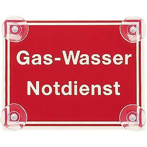 Panneau gaz-eau, service d´urgence ALLEMAND 190 x 150 mm