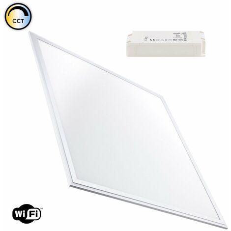 Panneau LED Smart WiFi Dimmable Tonalité de Couleur Sélectionnable 60x60cm 40W Cadre Argenté Sélectionnable (Chaud-Neutre-Froid) - Sélectionnable (Chaud-Neutre-Froid)
