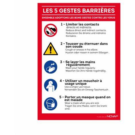 Panneau 'Les gestes barrières' Rigide A4 - TOPCAR 4600109