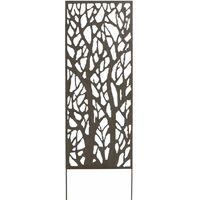 Panneau métal avec motifs décoratifs/Arbres - 0,60 x 1,50 m - Brun vieilli
