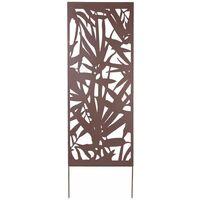 Panneau métal avec motifs décoratifs/Feuillage - 0,60 x 1,50 m - Brun