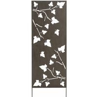 Panneau métal avec motifs décoratifs/Feuilles - 0,60 x 1,50 m - Brun vieilli