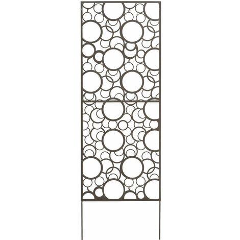 Panneau métal avec motifs décoratifs/Ronds - 0,60 x 1,50 m - Brun vieilli