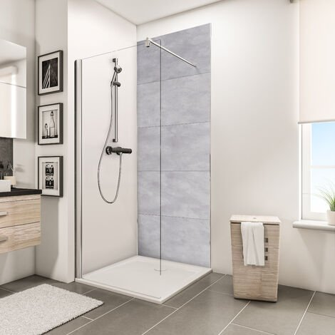 """main image of """"Panneau mural 100 x 210 cm, revêtement pour douche et salle de bains, DécoDesign DÉCOR, Schulte, Pierre gris clair"""""""