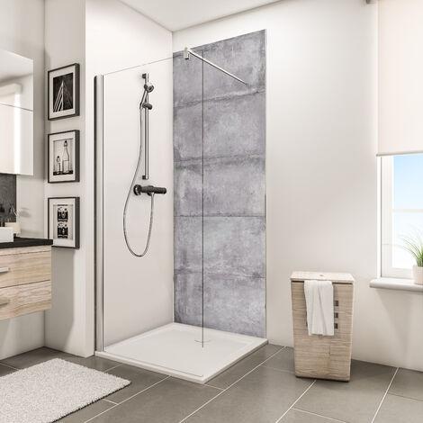 Panneau mural 100 x 210 cm, revêtement pour douche et salle de bains, DécoDesign DÉCOR, Schulte, Crépi gris