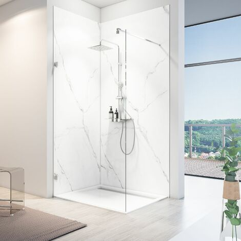 Panneau mural 100 x 210 cm, revêtement pour douche et salle de bains, DécoDesign SOFTTOUCH, Schulte, Marbre de carrare