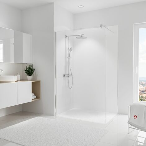 Panneau mural 120 x 210 cm, revêtement pour douche et salle de bains, DécoDesign COULEUR, Schulte, Blanc