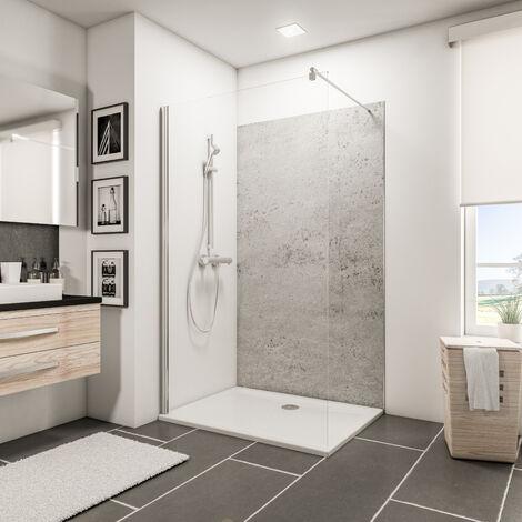 Panneau mural 120 x 210 cm, revêtement pour douche et salle de bains, DécoDesign DÉCOR, Schulte, Pierre gris clair