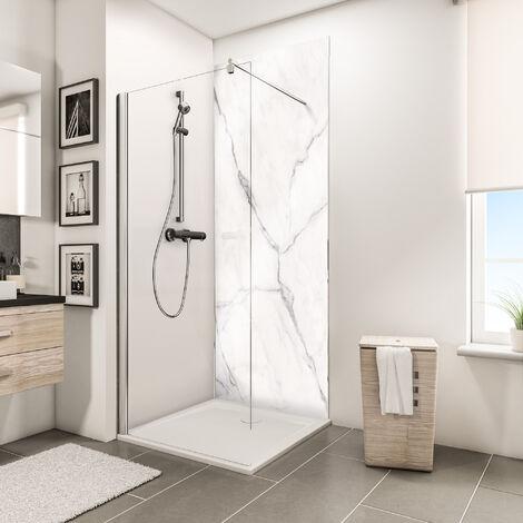 Panneau mural 150 x 210 cm, revêtement pour douche et salle de bains, DécoDesign BRIO, Schulte, Marbe de carrare brillant