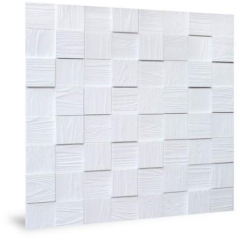 Panneau mural 3D Profhome 3D 704498 Harmony Cubes Wood Grain White Panneau décoratif gaufré d'aspect bois mate blanc 2,2 m2