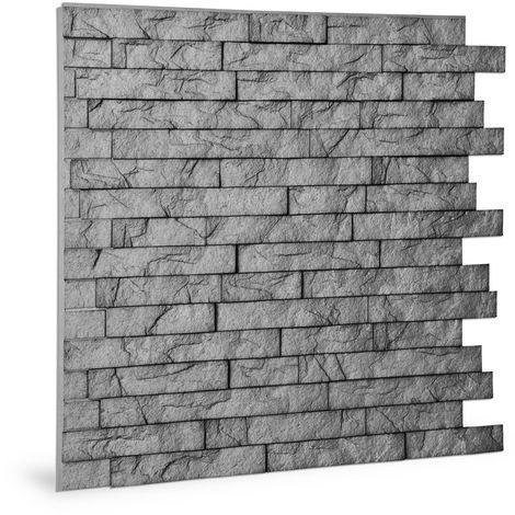 Panneau mural 3D Profhome 3D 704500 Ledge Stone Portland Cement Panneau décoratif gaufré d'aspect pierre brillant gris 2 m2