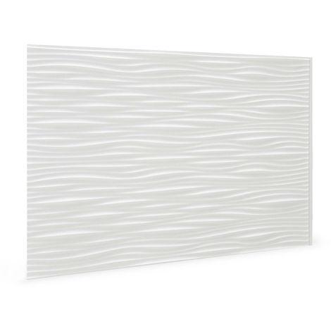 Panneau mural 3D Profhome 3D 704551 Wilderness White Panneau décoratif gaufré d'aspect plastique brillant blanc 1,7 m2