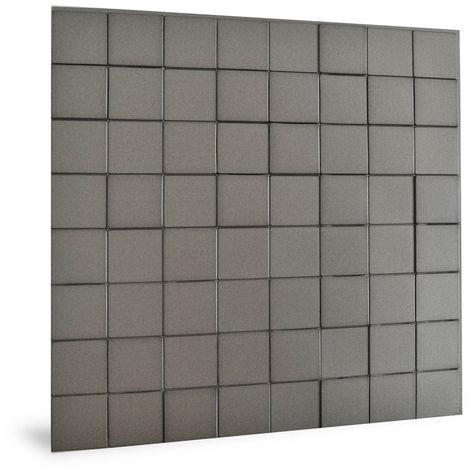 Panneau mural 3D Profhome 3D 705258 Harmony Cubes Smoked Gray Panneau décoratif lisse d'aspect plastique brillant gris 2,2 m2