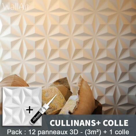 Panneau Mural 3d WallArt Mur 3D Cullinans 3m² + Colle
