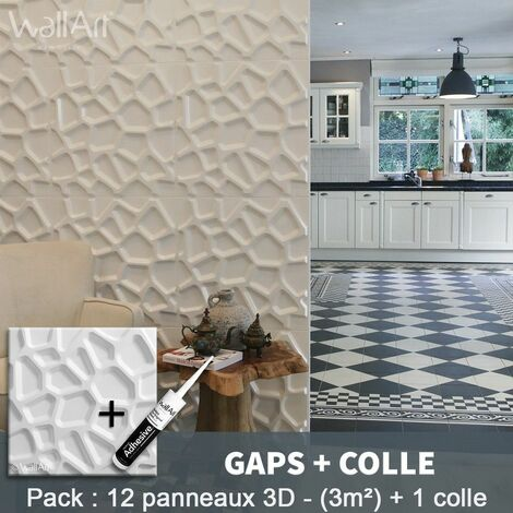 Panneau Mural 3d WallArt Mur 3D Gaps 3m² + Colle