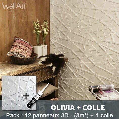 Panneau Mural 3d WallArt Mur 3D Olivia 3m² + Colle