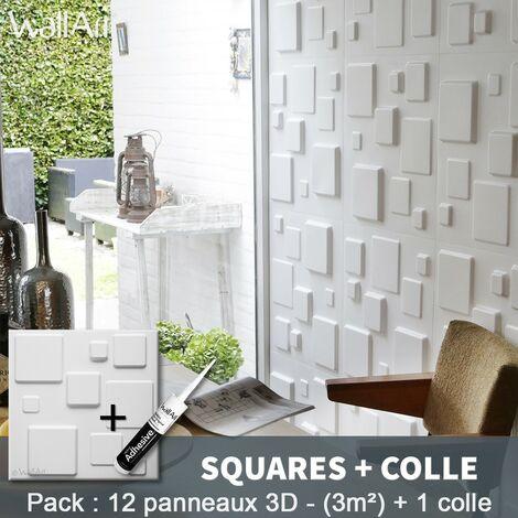 Panneau Mural 3d WallArt Mur 3D Squares 3m² + Colle