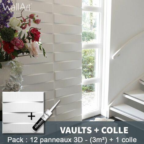 Panneau Mural 3d WallArt Mur 3D Vaults 3m² + Colle