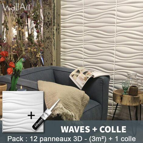 Panneau Mural 3d WallArt Mur 3D Waves 3m² + Colle