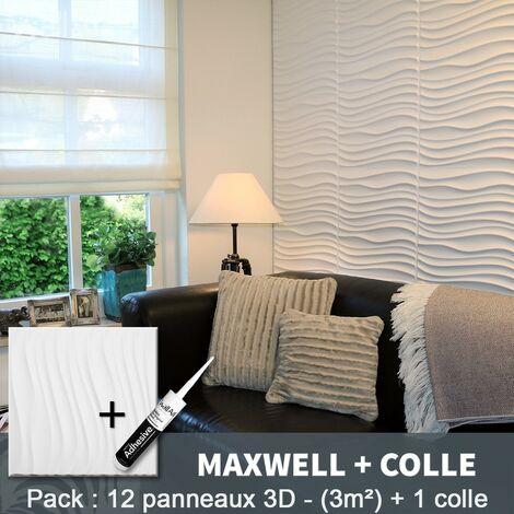 Panneau Mural 3d WallArt Mur3D Maxwell 3m² + Colle