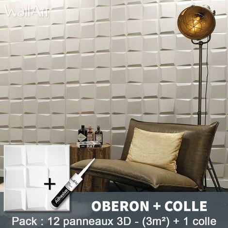 Panneau Mural 3d WallArt Mur3D Oberon 3m² + Colle