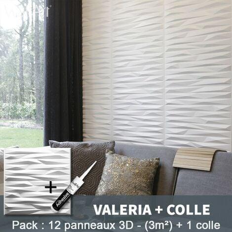 Panneau Mural 3d WallArt Mur3D Valeria 3m² + Colle