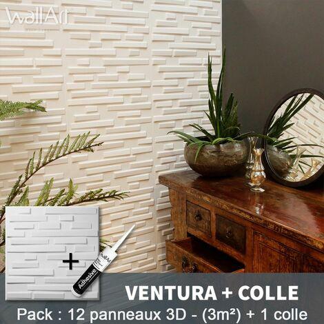 Panneau Mural 3d WallArt Mur3D Ventura 3m² + Colle