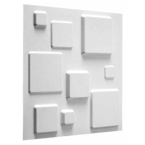 Panneau mural 3D WallArt Squares 3m2 - Blanc pur