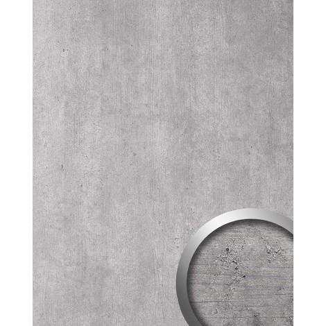 Panneau mural aspect ciment WallFace 19091 LIGHT ciment béton pierre accroche-regard décor revêtement mural autoadhésif gris clair gris 2.60 m2