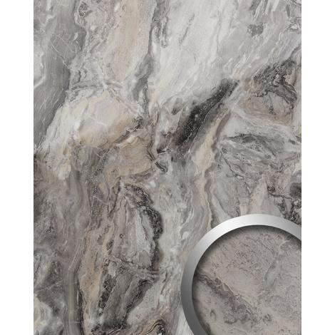Panneau mural aspect mabre WallFace 19340 MARBLE ALPINE Revêtement mural lisse d'aspect pierre naturelle brillant résistant à l'abrasion auto-adhésif gris brun 2,6 m2